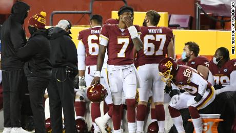 Dwayne Haskins # 7 of the Washington Soccer Team responds to the touchline against the Carolina Panthers.