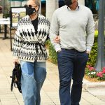 Jennifer Lopez in wide leg jeans and a wraparound jacket while outing in Miami with Alex Rodriguez